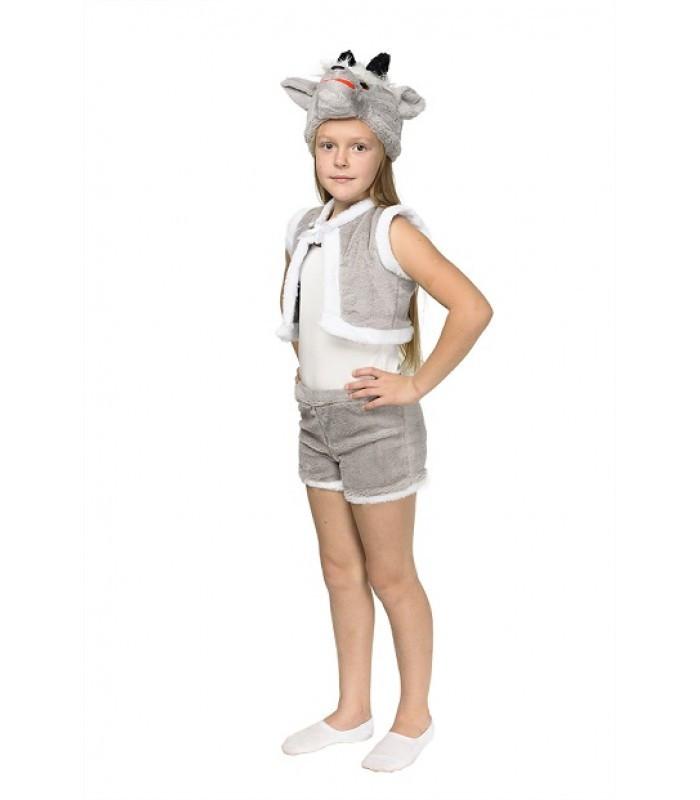 Карнавальный костюм КОЗЛИК СЕРЫЙ (мех) для мальчика 3-6 лет, 98-116 см, детский новогодний костюм маскарадный
