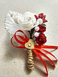 Бутоньерка свадебная Rose. Цвет красный., фото 3