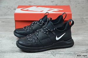Мужские кожаные кроссовки Nike черного цвета (реплика)