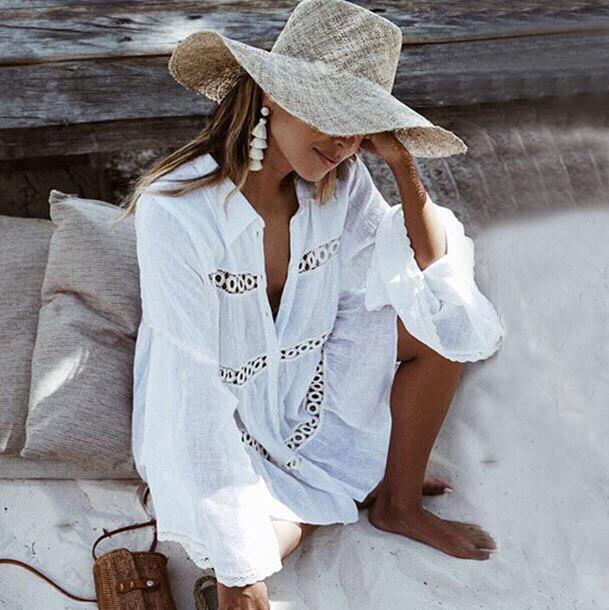 Платье-туника пляжные с кружевными вставкам (1 цвет)