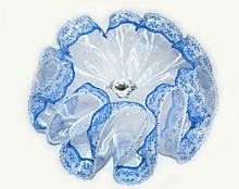 Бант для волос синий на резинке