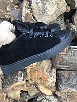 Кеды женские замшевые и кожаные черные 0015СЗ