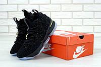 Баскетбольные кроссовки LeBron 15 Black Metallic Gold Ocean Fog, фото 1