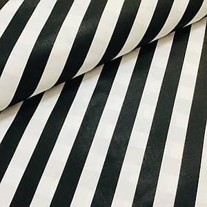 Ткань польская хлопковая, косая черная полоска на белом