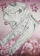 Стильный велюровый детский костюм для девочки подростка ОСА стальной 134,140,146,152см
