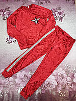 Стильный велюровый детский костюм для девочки подростка ОСА красный 134,140,146см