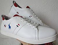 Polo Ralph Lauren Чоловічі стильні білі шкіряні кеди сліпони натуральна  шкіра репліка відмінної якості 67dd3b2e3c2c3