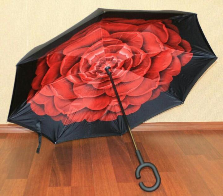 ✅Зонт smart Анти Зонт обратного сложения д110см 8 спиц умный зонт зонт наоборот UP-BRELLA UN-unbrella красный, цветок красный
