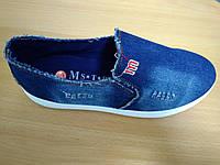 Мокасины джинсовые женские Вышивка М, фото 1