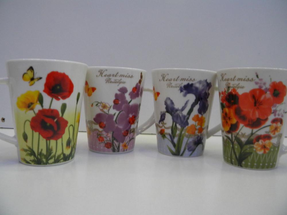 Чашка 375мл -4 дек Цветы 2626