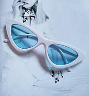 Треугольные очки солнцезащитные  кошачий глаз Белый+голубой