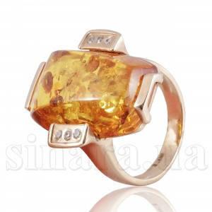 Золотое кольцо с янтарем 1569/4022