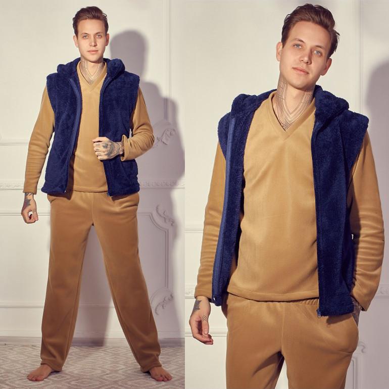 Мужской домашний костюм с махровой жилеткой р.50-54