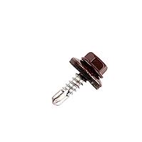 Саморез кровельный по металлу 4.8х19мм RAL8017 (коричневый), 250 шт