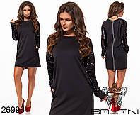 Маленькое черное платье с пайетками на рукавах размеры S-ХL, фото 1