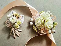 Свадебная бутоньерка и браслет Rose. Цвет персиковый.