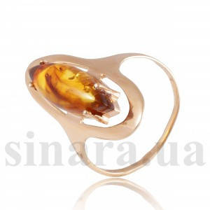 Золотое кольцо с янтарем 25352