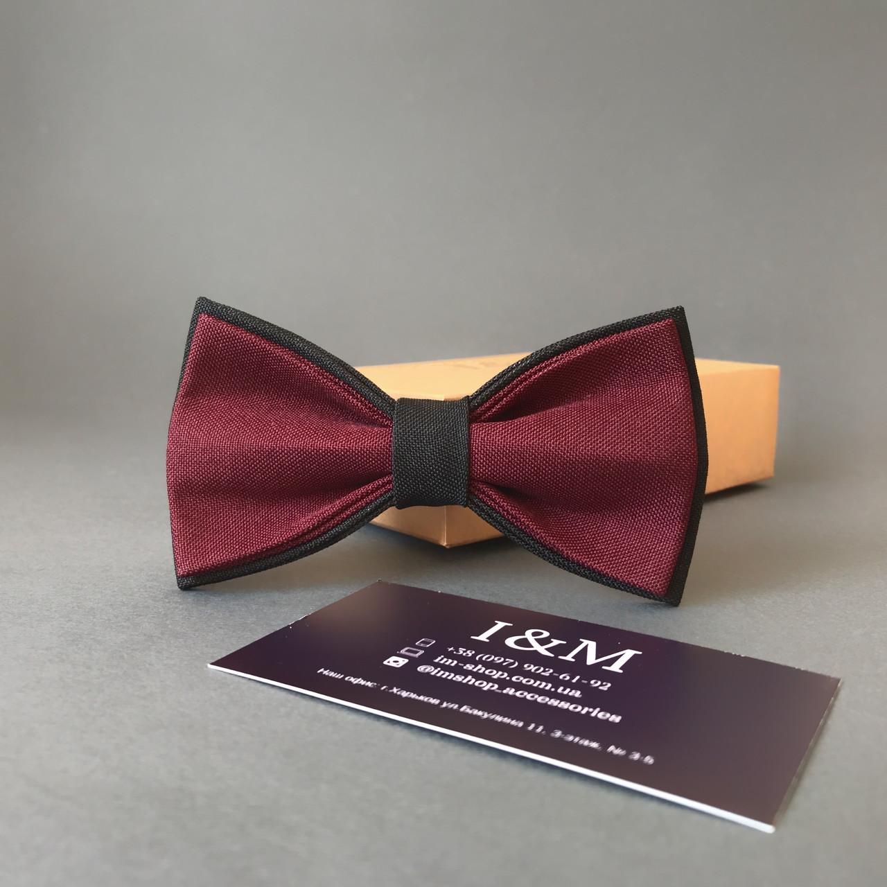 Краватка-метелик I&M Craft двоколірний бордовий з чорним (010314)