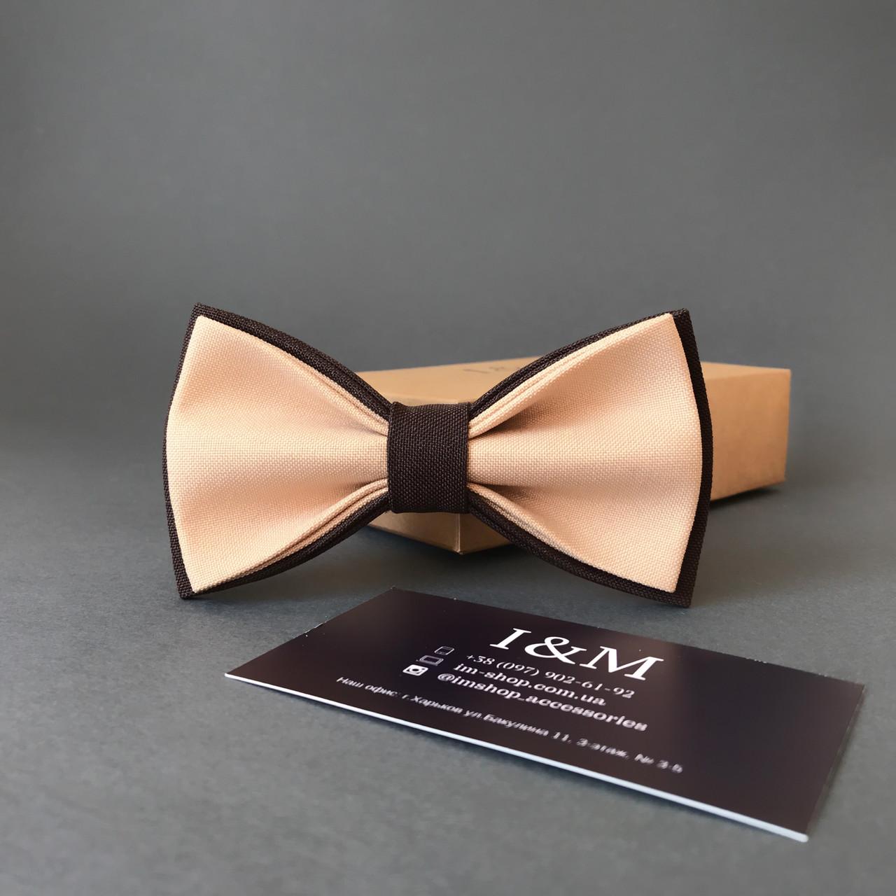 Краватка-метелик I&M Craft двоколірний бежевий з коричневим (010615)
