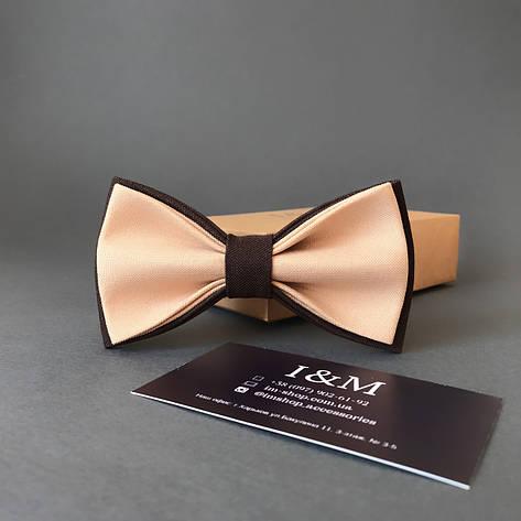 Краватка-метелик I&M Craft двоколірний бежевий з коричневим (010615), фото 2