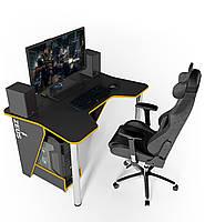 "Стол компьютерный 140х92х75 см. ""Igrok-3"" Геймерский, черный/желтый, фото 1"