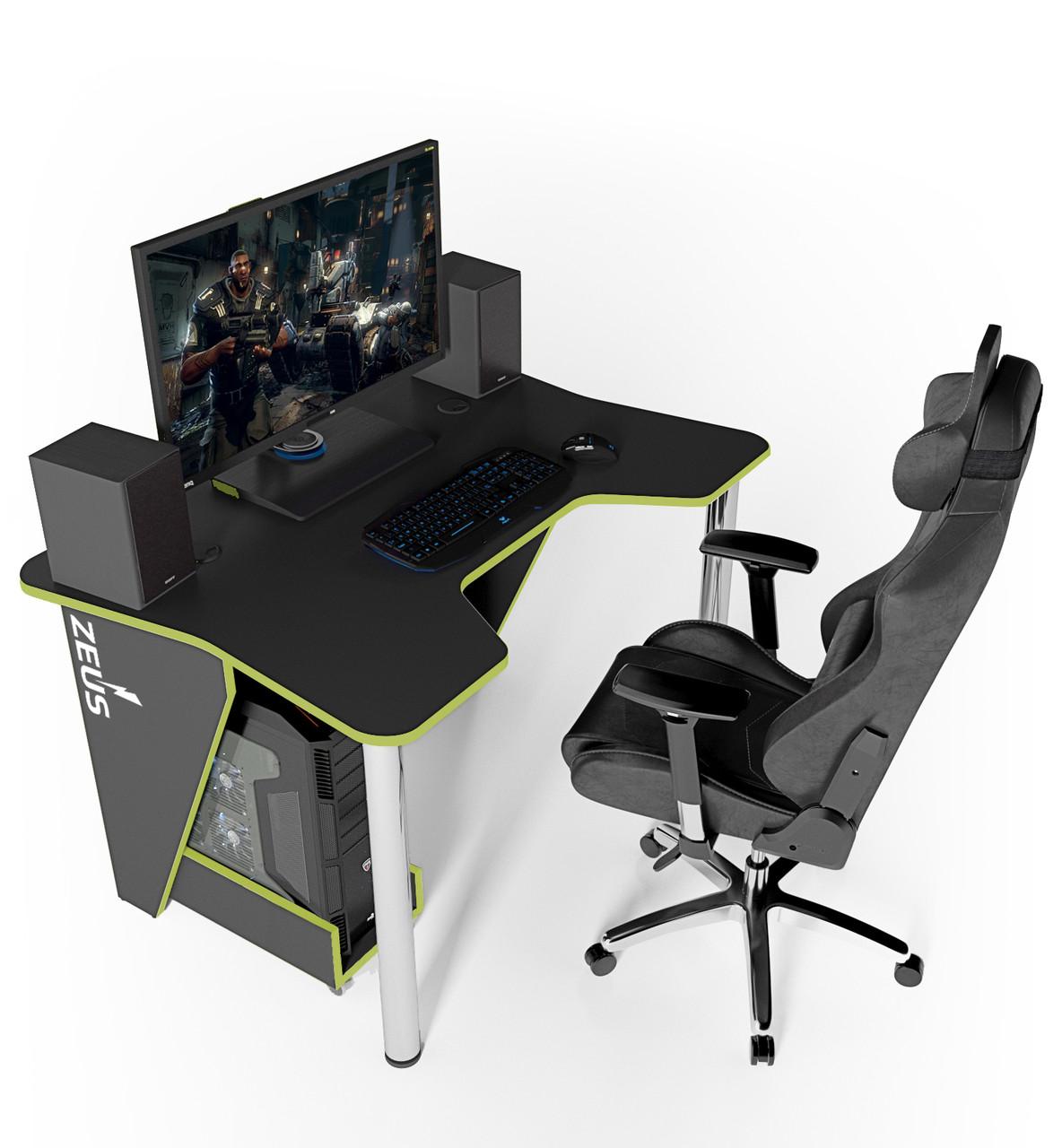 """Стол компьютерный 140х92х75 см. """"Igrok-3"""" Геймерский, черный/зеленый"""