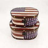 Шкатулка овальная набор набор из 2-х флаг США Гранд Презент SH31302, фото 3