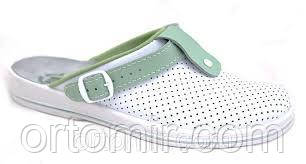 Тапочки медицинские  белые с зеленым