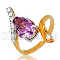 Золотое кольцо Фантазия с аметистом 6944