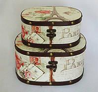 Шкатулка овальная набор из 2-х – Париж SH31302-447