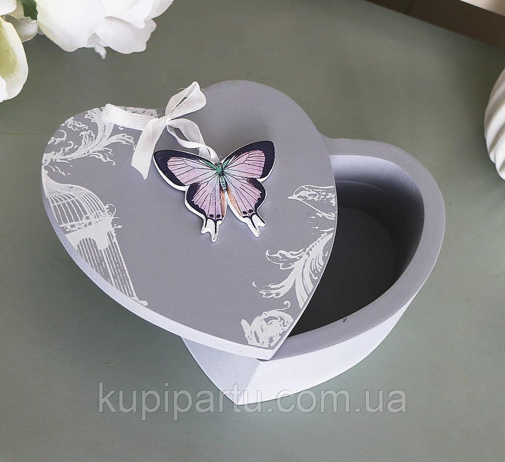 Шкатулка с бабочкой в виде сердца 179614