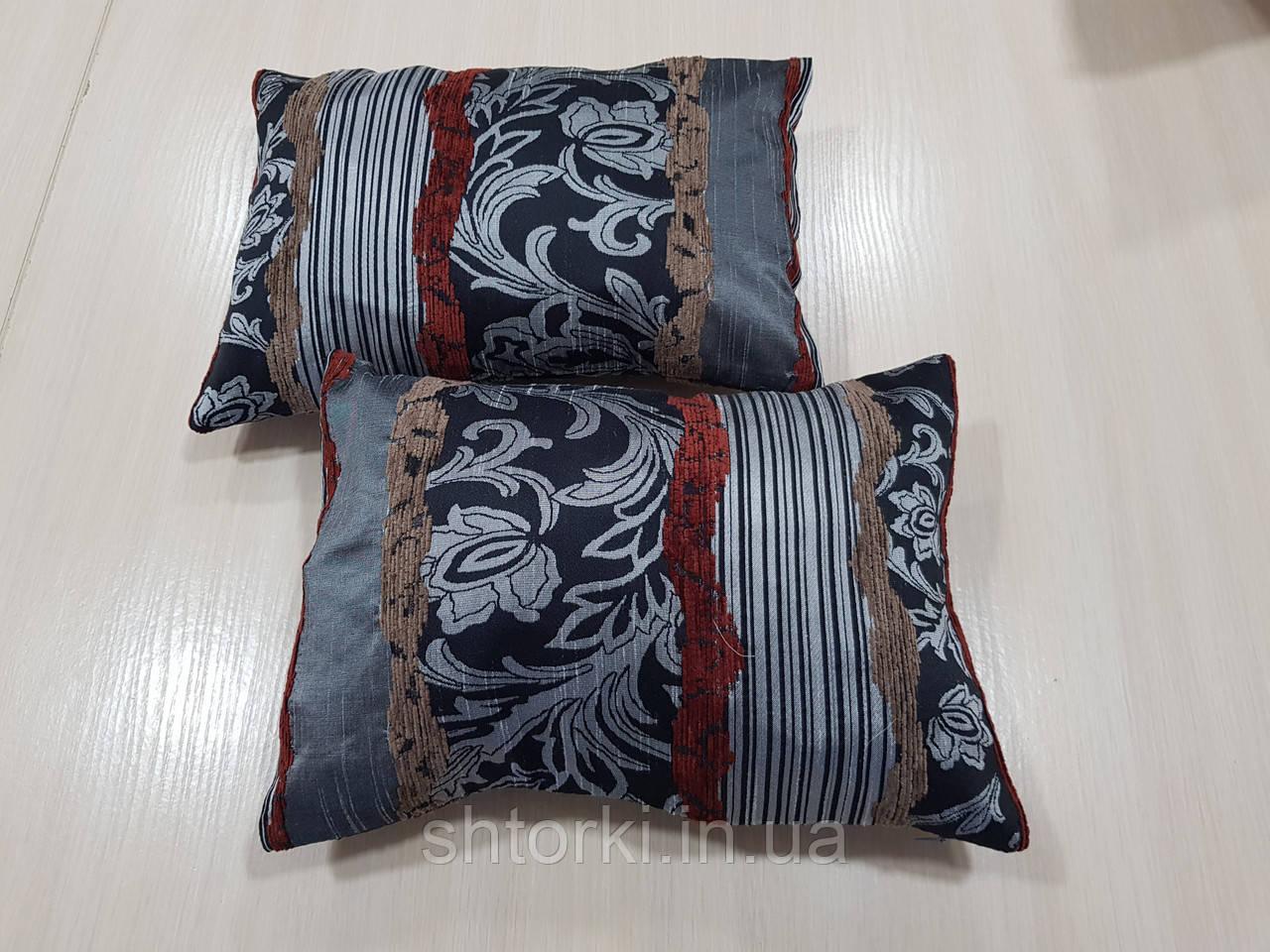Комплект подушек Черные с серы завитком 2шт