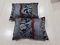 Комплект подушек Черные с серы завитком 2шт, фото 1