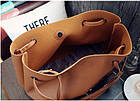 Модная городская женская сумка JingPin 2 в 1 тёмно-серая (сумка + клатч) JA-5, фото 5