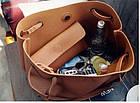 Модная городская женская сумка JingPin 2 в 1 тёмно-серая (сумка + клатч) JA-5, фото 4