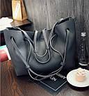 Модная городская женская сумка JingPin 2 в 1 тёмно-серая (сумка + клатч) JA-5, фото 2