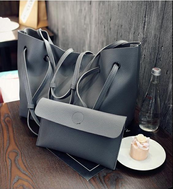 Модная городская женская сумка JingPin 2 в 1 тёмно-серая (сумка + клатч) JA-5