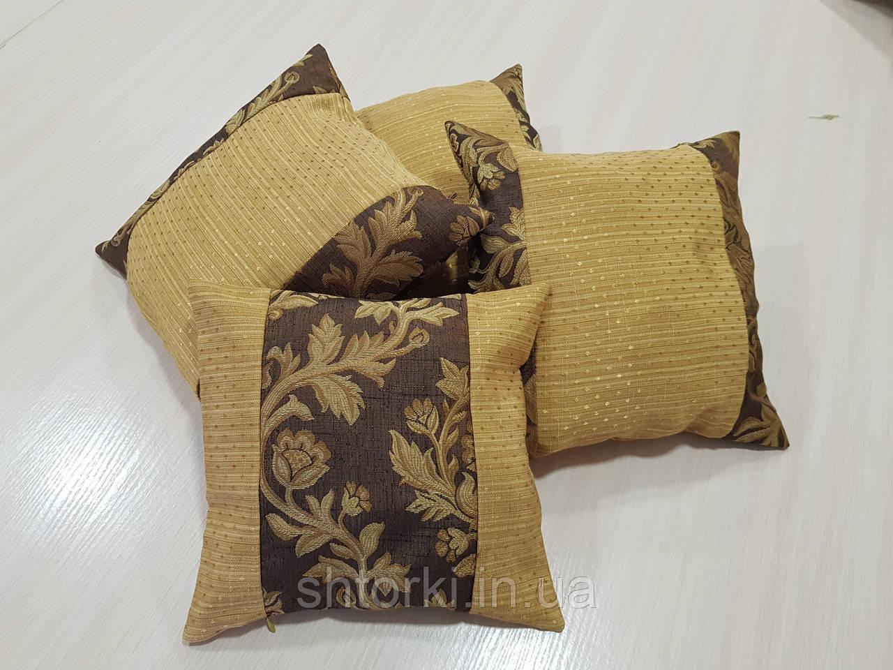 Комплект подушек Гобилен коричневые с соломенным 4шт