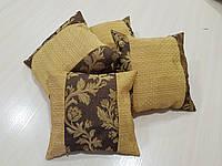 Комплект подушек Гобилен коричневые с соломенным 4шт, фото 1