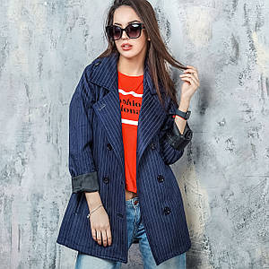 Женский тренчкот из замши на пуговицах с капюшоном темно-синего цвета Итали 42-48 р