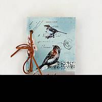 Блокнот голубой с птицами 17-BJ-PU-005