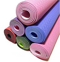 Коврик для йоги, фитнеса и аэробики 173х61х0,6 см, двухслойный, фото 1
