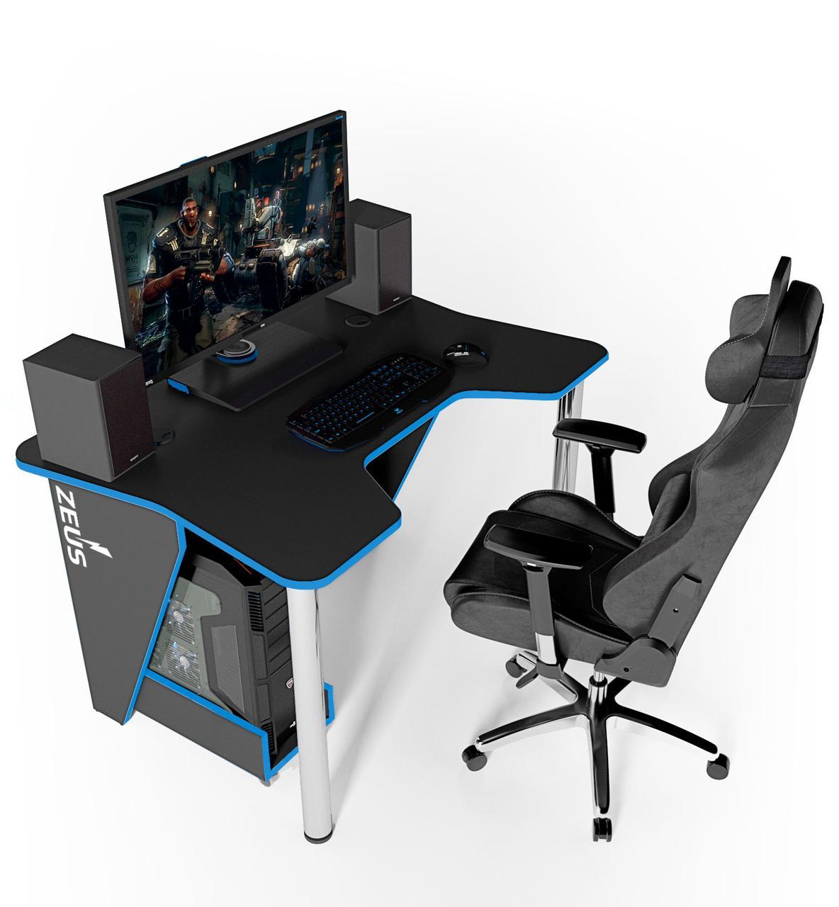 """Стол компьютерный 140х92х75 см. """"Igrok-3"""" Геймерский, черный/синий"""