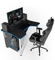 """Стол компьютерный 140х92х75 см. """"Igrok-3"""" Геймерский, черный/синий, фото 1"""