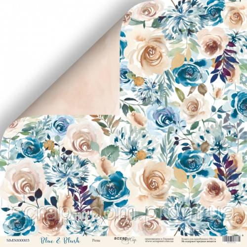 Лист двусторонней бумаги 30x30 от Scrapmir Розы из коллекции Blue & Blush