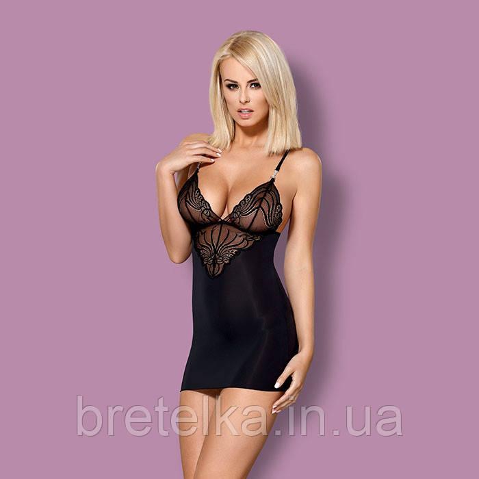 Ночная сорочка черная стринги в комплекте Obsessive 828
