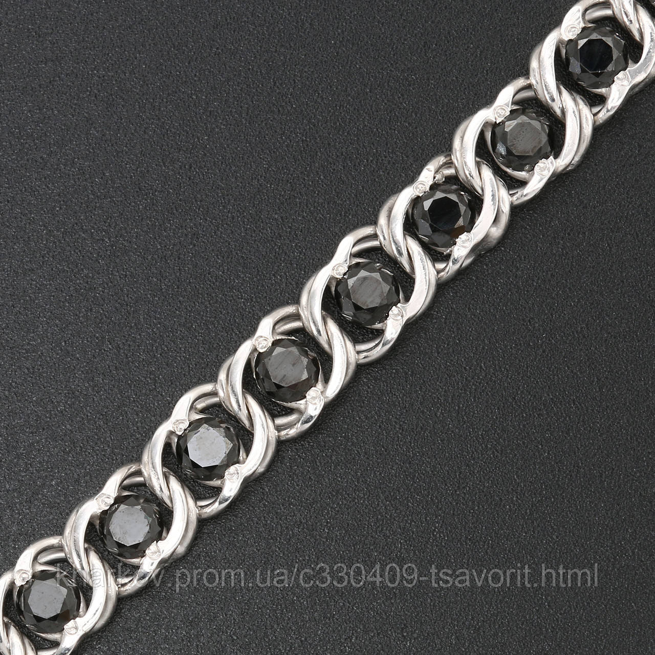 Серебряная цепочка с камнями 4110037-ч