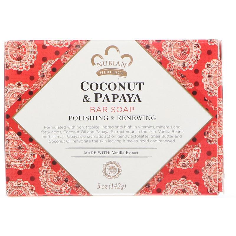 """Мыло с кокосом и папайей Nubian Heritage """"Coconut & Papaya"""" кусковое, обновление и шлифовка (142 г)"""