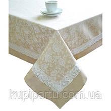 "Скатерть ""white Rose"" с кантом и кружевом  140х140 см"
