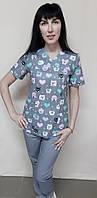 Женский медицинский костюм принт короткий рукав